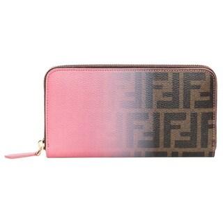 Fendi Zucca and Pink Ombr� Zip-around Wallet
