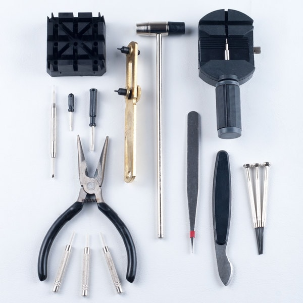 16-piece Plastic/Metal Watch Repair Tool Kit