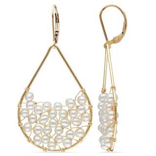 Miadora 14k Yellow Gold Filled Freshwater Pearl Dangle Earrings (3-4 mm)