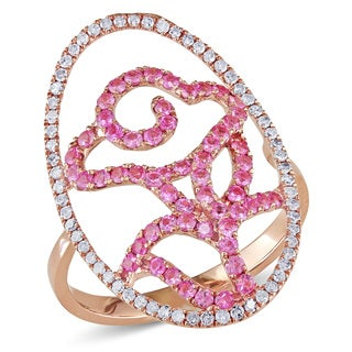 Miadora 14k Rose Gold Pink Sapphire and 1/3ct TDW Diamond Ring (H-I, I1-I2)