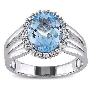 Miadora Sterling Silver 3ct TGW Blue Topaz and Created White Sapphire Ring