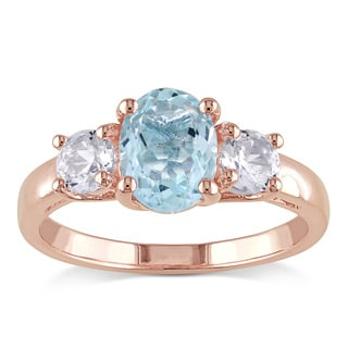 Miadora Rose Plated Silver Aquamarine and White Sapphire 3-stone Ring