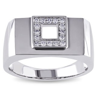 Miadora 14k White Gold Men's 1/5ct TDW Diamond Square Ring (G-H, SI1-SI2)
