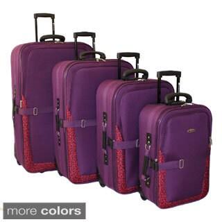 Dumont Animal Prints 4-piece Expandable Wheeled Luggage Set