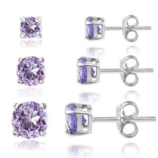 Glitzy Rocks Sterling Silver 1 1/2ct Amethyst Round Stud Earrings (Set of 3)