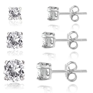 Glitzy Rocks Sterling Silver 2ct White Topaz Round Stud Earrings (Set of 3)