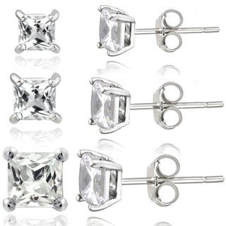 Glitzy Rocks Sterling Silver 2 7/8ct White Topaz Square Stud Earrings (Set of 3)