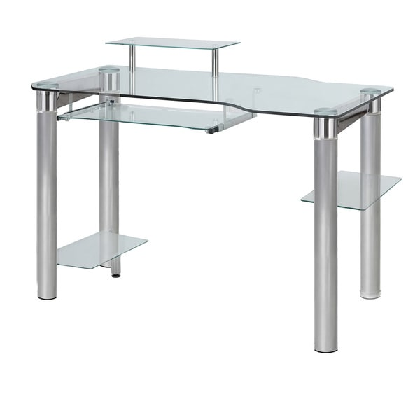 InnovEx Saturn Clear Glass PC Computer Desk
