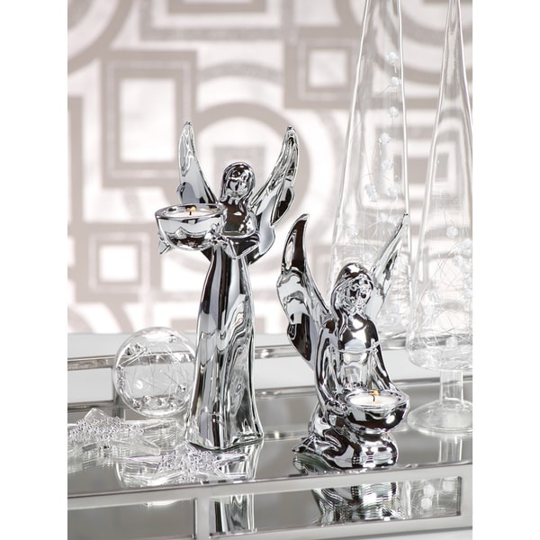 Silver-plated 2- piece Ceramic Angel Tealight Holder Set