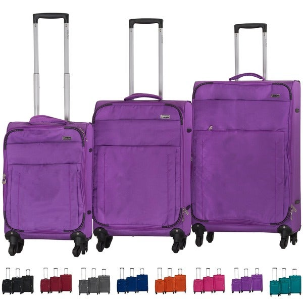 CalPak Wilshire 3-piece Ultra-Lightweight Expandable Softside Spinner Luggage Set