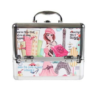 Nicole Lee Shopping Girl Print Travel Cosmetic Case with Mirror