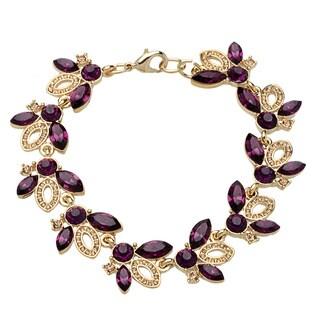 Carolee Navette Goldtone Flex Purple/ White Crystal Bracelet