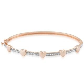 Finesque Rose Gold Overlay Diamond Accent Heart Design Bangle