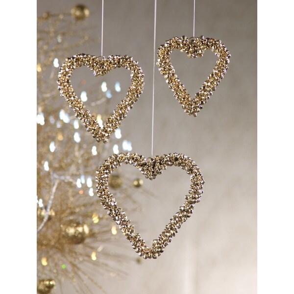Jingle Bell Heart Ornaments (Set of 6)