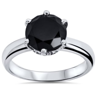 14k White Gold 2ct TDW Round-cut Black Diamond Solitaire Ring