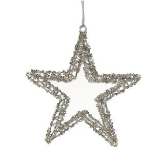 Wired Star Ornament with Glitter and Glass Beads