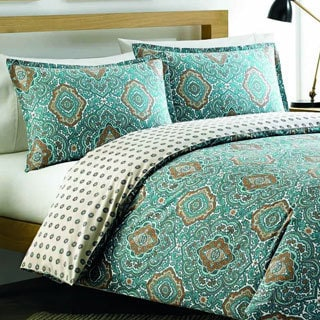 City Scene Milan Turquoise Cotton Reversible 3-piece Comforter set