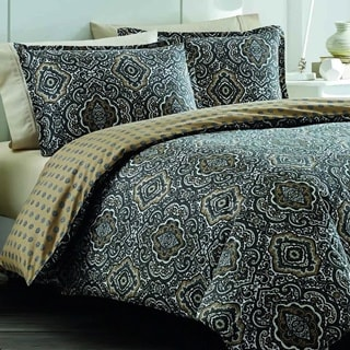 City Scene Milan Charcoal Cotton Reversible 3-piece Comforter set