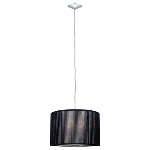 Fabienne Chrome Finish 1-light Pendant with Black Twine Shade