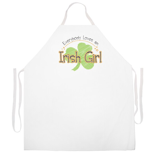 'Everybody Loves An Irish Girl' Apron-White 14009847