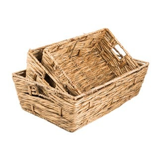 Water Hyacinth Coalesce 3-piece Tray Basket Set (Vietnam)