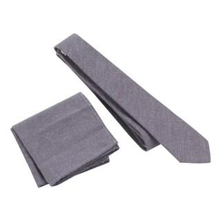 Skinny Tie Madness Men's 'Mr Quincy' Skinny Tie and Pocket Square Set