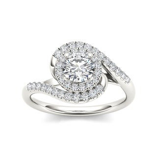 De Couer 14k White Gold 1ct TDW Swirl Diamond Engagement Ring (H-I, I2)