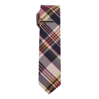 Skinny Tie Madness Men's 'Throw in the Towel' Plaid Skinny Tie with Tie Clip