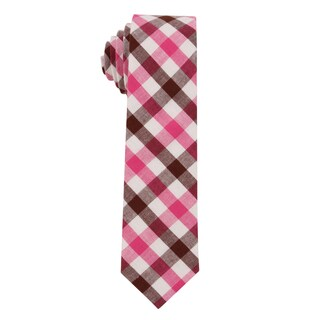 Skinny Tie Madness Men's 'Fear of Heights' Plaid Skinny Tie