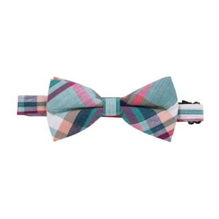 Skinny Tie Madness Men's 'Act without Expectation' Pretied Plaid Bowtie