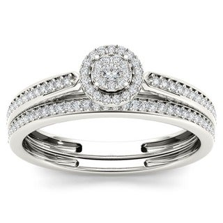 De Couer 10k White Gold 1/4ct TDW Diamond Single Halo Bridal Ring Set (H-I, I2)