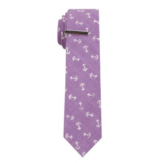 Skinny Tie Madness Men's The 'Hook Line and Sinker Trilogy' Anhor Print Tie with Tie Clip