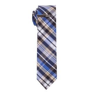 Skinny Tie Madness Men's 'Hear all Evil' Plaid Skinny Tie with Tie Clip