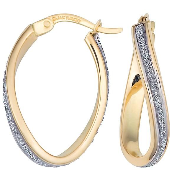 Fremada 10k Two-tone Gold High Polish Glass Blast Finish Twist Oval Hoop Earrings
