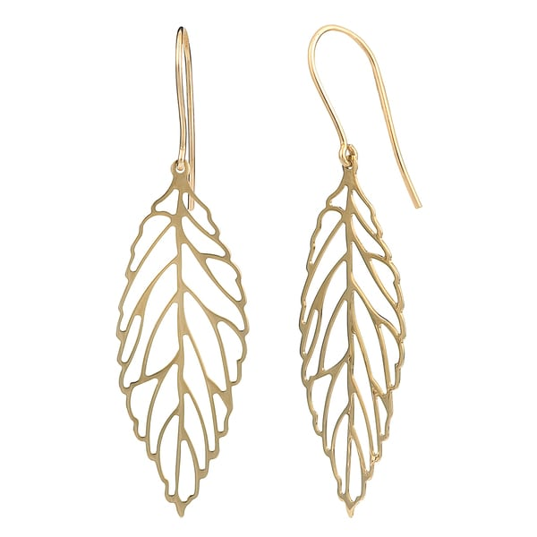Fremada 10k Yellow Gold High Polish Leaf Drop Earrings