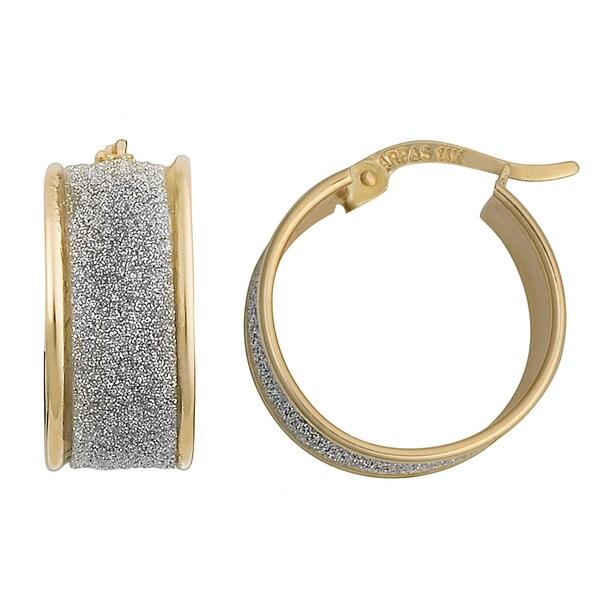 Fremada 10k Two-tone High Polish and Glass Blast Finish Hoop Earrings