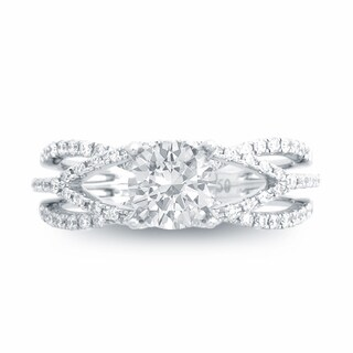 Copper Round-cut Cubic Zirconia Bridal-style Ring