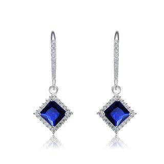 Collette Z Sterling Silver Blue and White Cubic Zirconia Square Drop Earrings