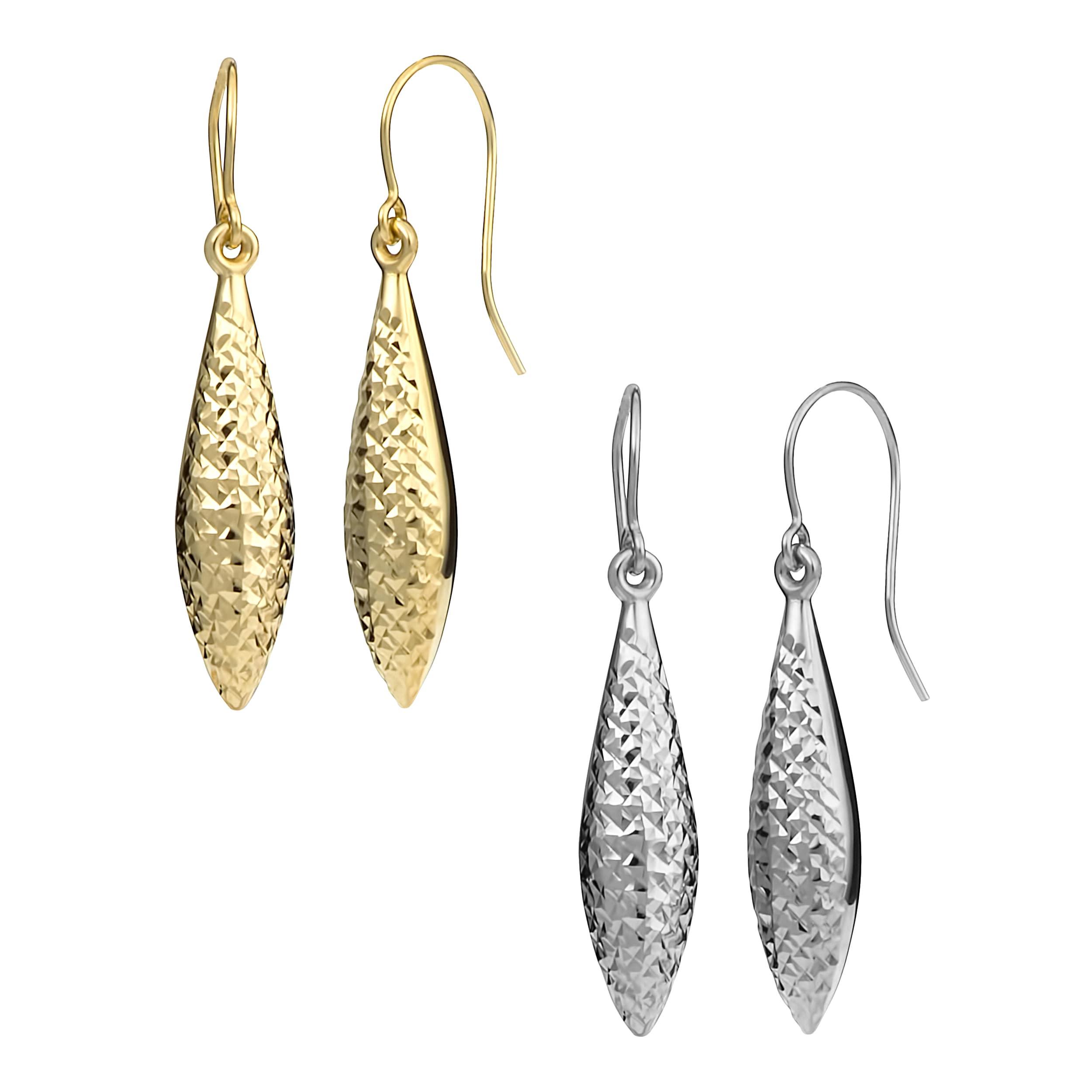 Fremada 10k Gold Diamond-cut Puffed Marquise Dangle Earrings at Sears.com