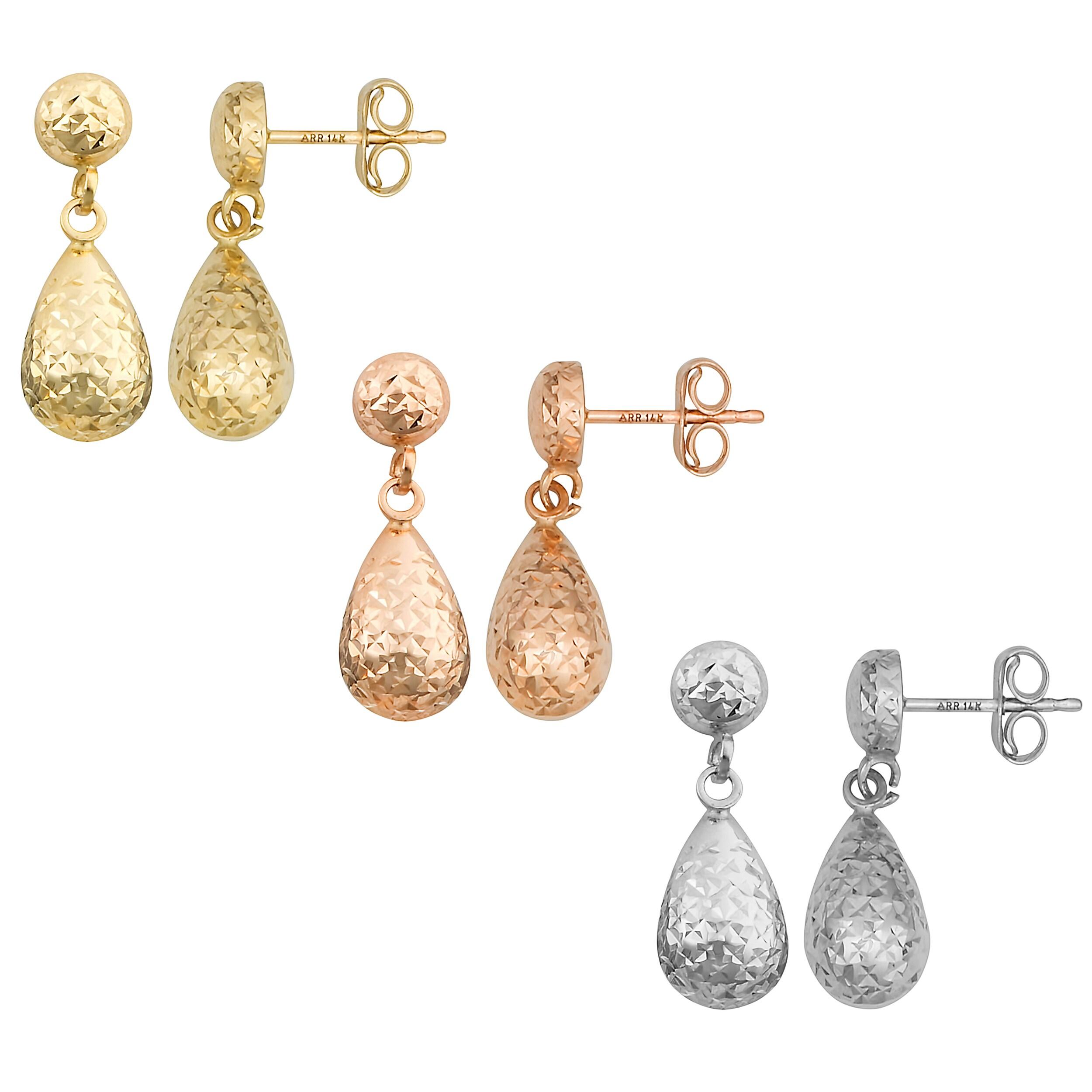 Fremada 10k Gold Diamond-cut Petite Teardrop Dangle Earrings at Sears.com