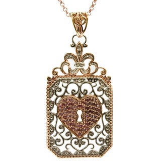 Dallas Prince Sterling Silver Pink and White Sapphire Lock Pendant