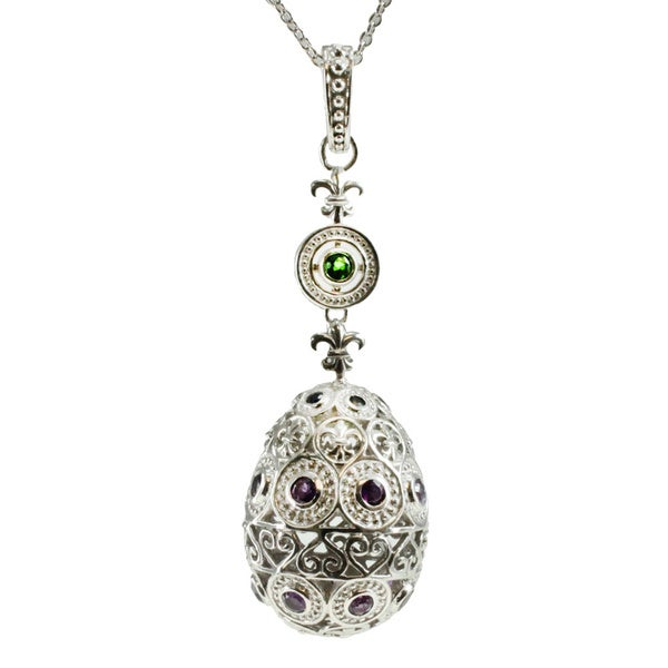 Dallas Prince Sterling Silver Amethyst, Chrome Diopside and Blue Sapphire Egg Pendant