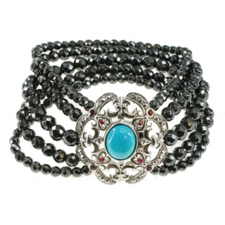 Dallas Prince Sterling Silver,Turquoise, Marcasite, Hematite Bracelet