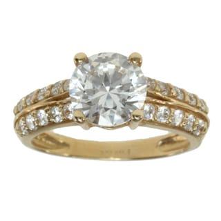 Michael Valitutti 14k Yellow Gold Round-cut Cubic Zirconia Ring