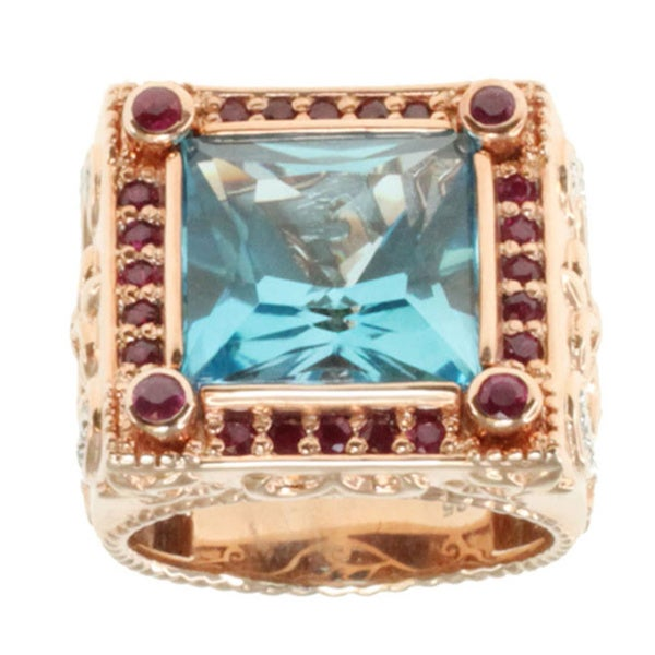 Dallas Prince Rose Gold over Sterling Silver Embrace Blue Topaz and Ruby Ring