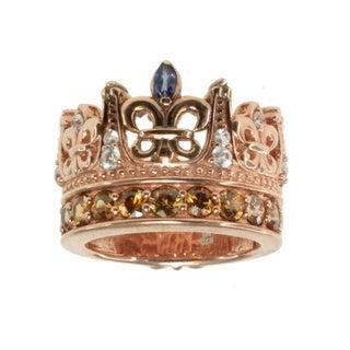 Dallas Prince Gold Over Silver Blue/ White Sapphire and Mocha Zircon Crown Ring
