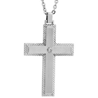 Stainless Steel Cubic Zirconia Textured Cross Pendant