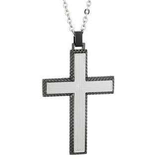 Stainless Steel Gun Metal Grey Ion-plated Cross Pendant