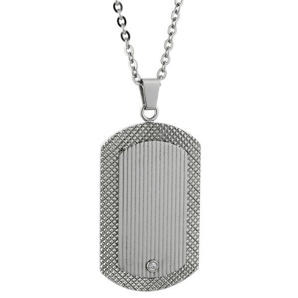 Stainless Steel Cubic Zirconia Textured Tag Pendant