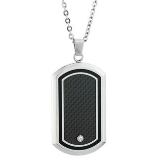 Stainless Steel Black Carbon Fiber and Cubic Zirconia Dog Tag Pendant
